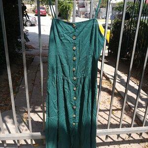 Dark green urban outfitters button up dress